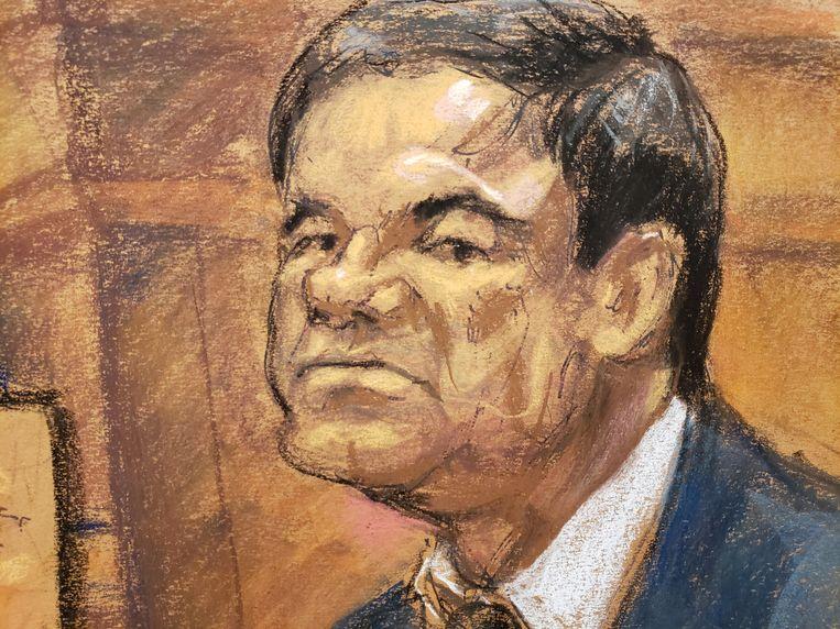 Een schets van 'El Chapo' tijdens zijn proces.