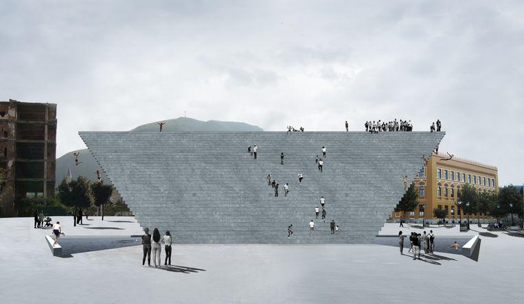 Project 'Jump': ontwerpvoorstel voor de publieke ruimte van Mostar, Bosnië-Herzegovina. Beeld Arna Mackic, Studio L A