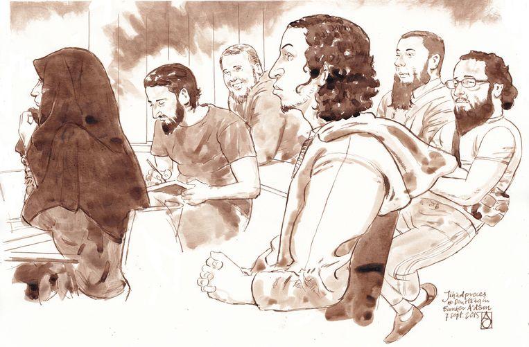 Rechtbanktekening van de verdachte (vlnr) Iman B., Azzedine C., Rudolf H., Oussama C., Jordi de J. en Moussa L. tijdens het grote Haagse jihadproces in de speciaal beveiligde rechtszaal de bunker in Amsterdam-Osdorp. Beeld anp