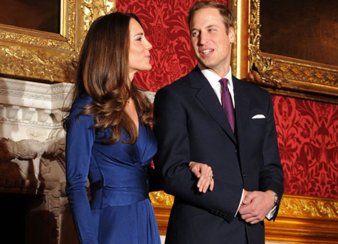 Kate Middleton, in de jurk van Daniella Helayel, en prins William.