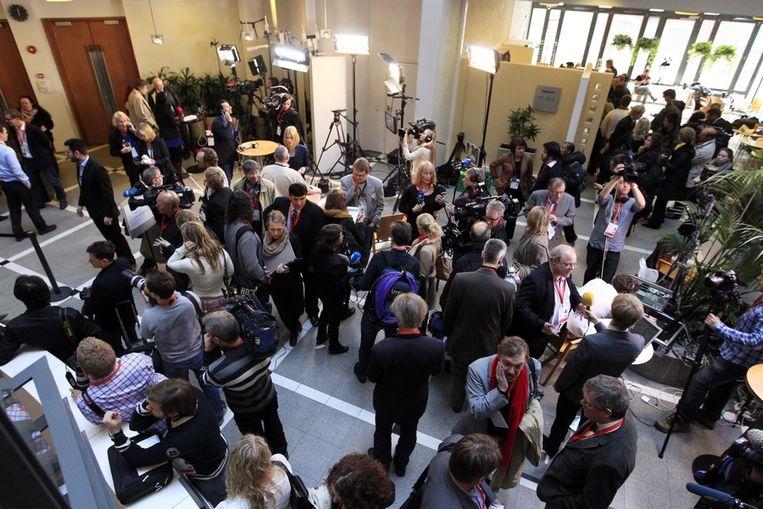 Media in de rechtbank van Oslo. Beeld epa