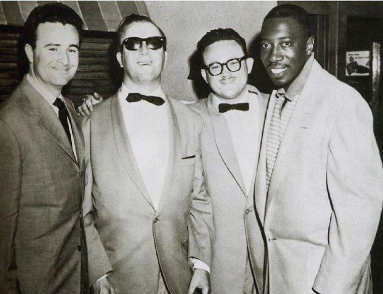 Thielemans met Bobbejaan Schoepen, George Shearing en Joe Williams. Beeld belga