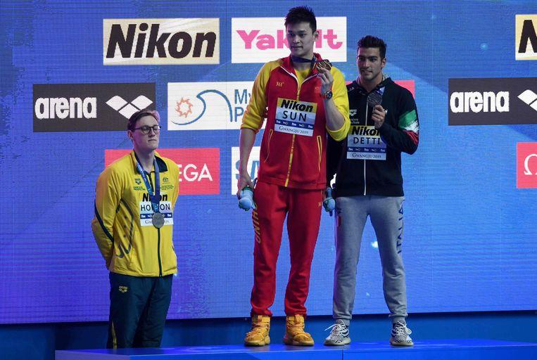 Mack Horton weigerde mee op het podium te staan met wereldkampioen Sun Yang . Gabriele Detti zag er geen problemen in.
