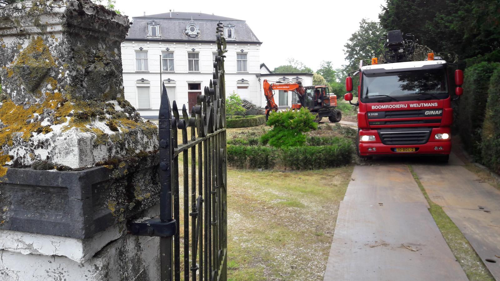 Boomrooiers voeren gekapte coniferen en fijnsparren bij de oude pastorie van Moergestel aan de Postelstraat af.