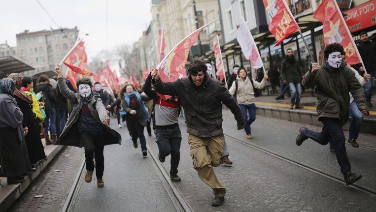Jongeren tijdens nieuwe protesten in Turkije eerder deze maand.