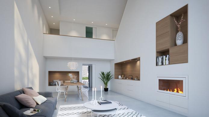 Het huis is van binnen licht en ruimtelijk.