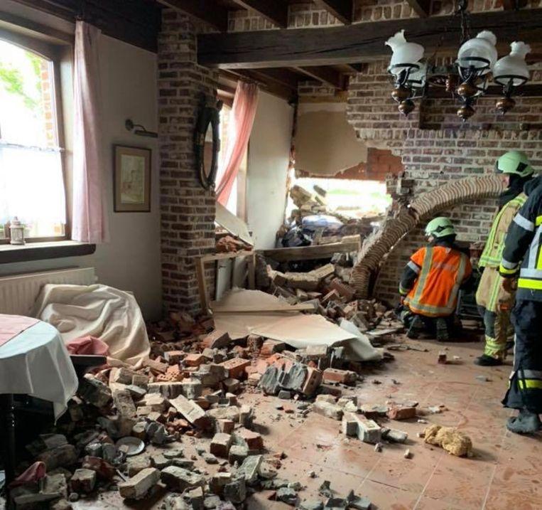 De schade in het restaurant De Peerdekens is groot.