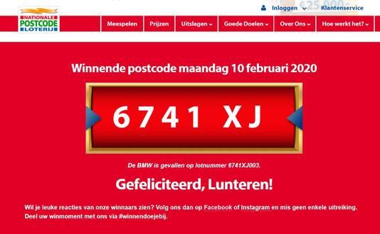 De bekendmaking van de Straatprijs op de site van de Postcodeloterij.