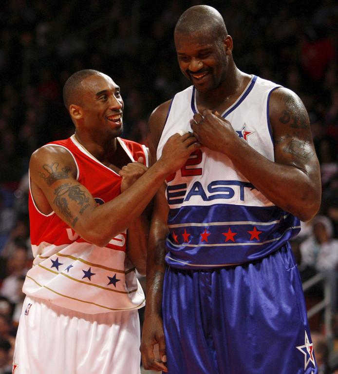 Kobe Bryant deed liefst 18 keer mee aan de NBA All-Star Game, meer dan iedere andere speler. Hier is hij tijdens de editie van 2006 met Shaquille O'Neal.