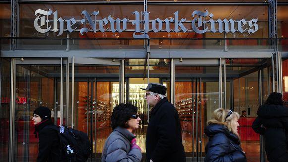 De ingang van het hoofdkantoor van The New York Times in New York.