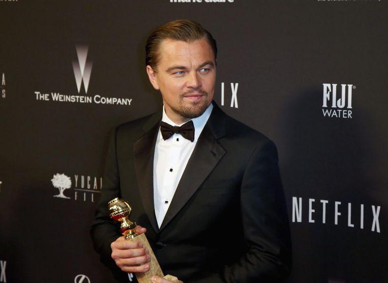Leonardo DiCaprio won in de categorie beste acteur in een musicalfilm of komedie. Beeld getty