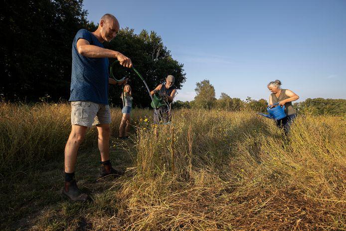 Maandagavond waren vrijwilligers bezig de bomen en planten water te geven in het voedselbos en de dorpsmoestuin. Vlnr Raymond en Leah van de Sande en Gerry Dorrestein.