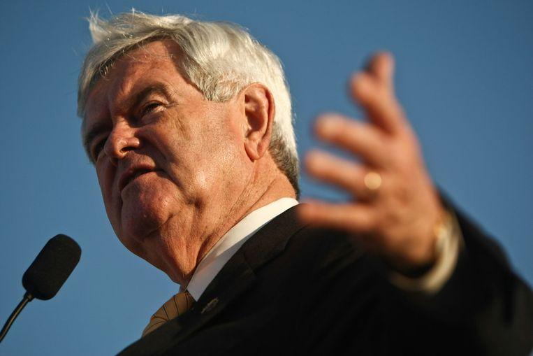 Newt Gingrich gisteren in Florida. Beeld ap