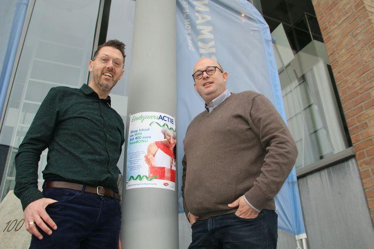 Nico Engelen (schepen Lokale Economie) en Bart Wijckmans (voorzitter Unizo Ham).