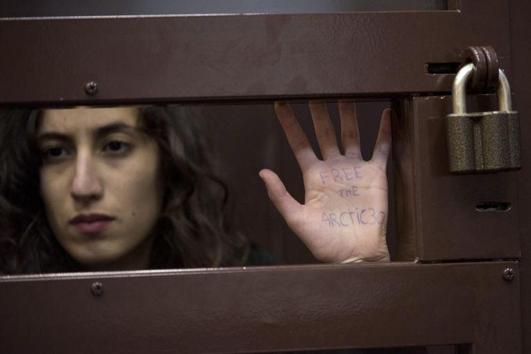 De Nederlandse Greenpeace-activiste Faiza Oulahsen Beeld ANP