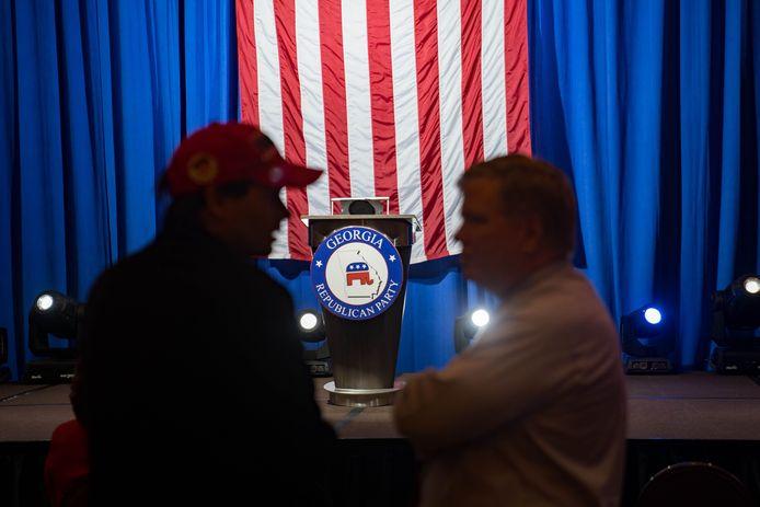 Aanhangers van de Republikeinse kandidaat David Perdue op verkiezingsnacht in Atlanta, Georgia.