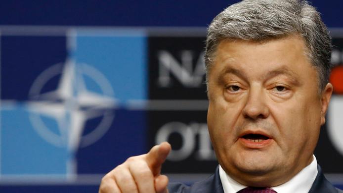President Poroshenko aan het woord tijdens de Navo-top