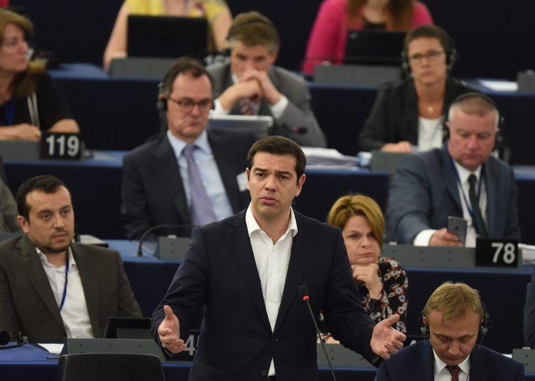 De Griekse premier Tsipras spreekt in het Europees Parlement. Beeld EPA