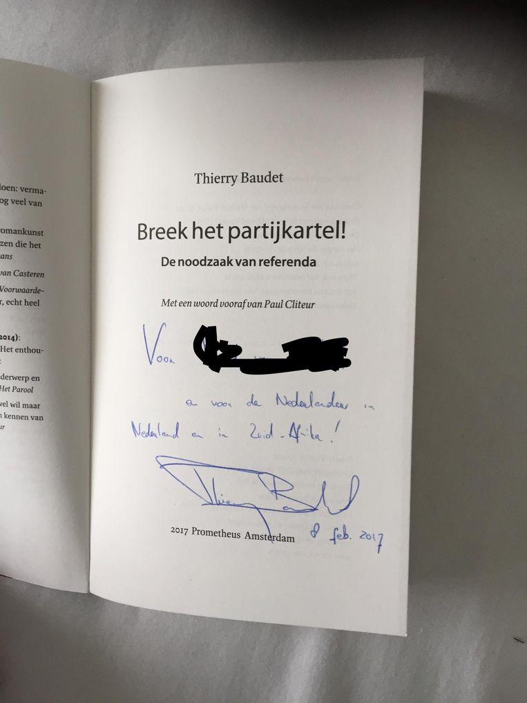 Een door Thierry Baudet gesigneerd exemplaar van zijn boek voor Erkenbrander Sam van der Hyden. Beeld .