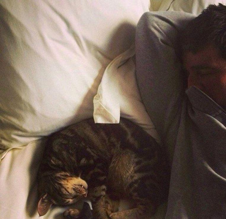 Noel en zijn kat Boots.