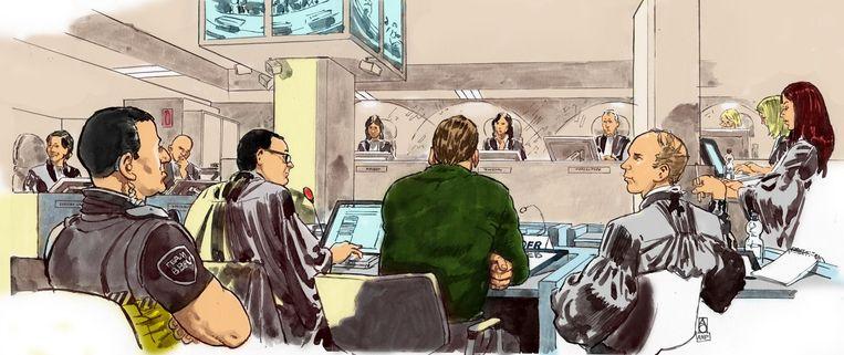 Holleeder op een rechtbanktekening Beeld anp