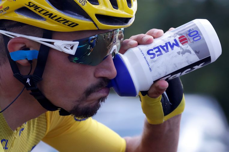 Le coureur de l'équipe Deceuninck-Quick Step et actuel maillot jaune Julian Alaphilippe.