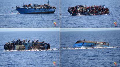 Marine filmt hoe vluchtelingenboot slagzij maakt