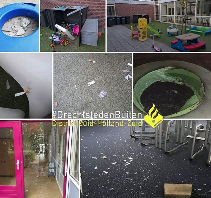 Op door de politie gedeelde foto's is de ravage bij het kindcentrum goed te zien.