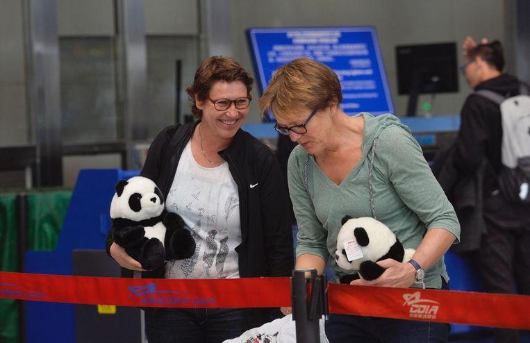 Nederlandse toeschouwers met pandaknuffels komen in Chengdu het vliegtuig van KLM met daarin de reuzenpandas Ya uitzwaaien voor hun reis naar Schiphol. Beeld anp