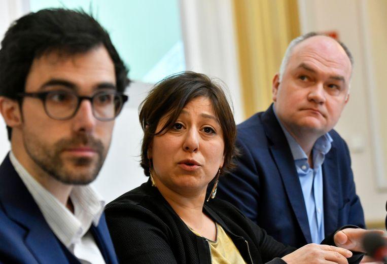 Persmoment van Groen, om de klimaatplannen van de partij voor te stellen met Kristof Calvo, Meyrem Almaci en Björn Rzoska.