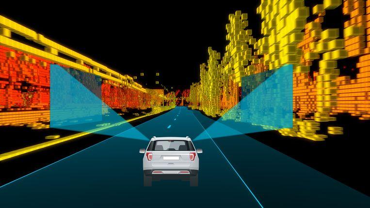 Een 'laserradar' brengt objecten langs de weg in kaart. De unieke combinatie van vangrails, lantaarnpalen en bomen, vormt een 'vingerafdruk' van de weg.  Beeld TomTom / Beeldbewerking de Volkskrant