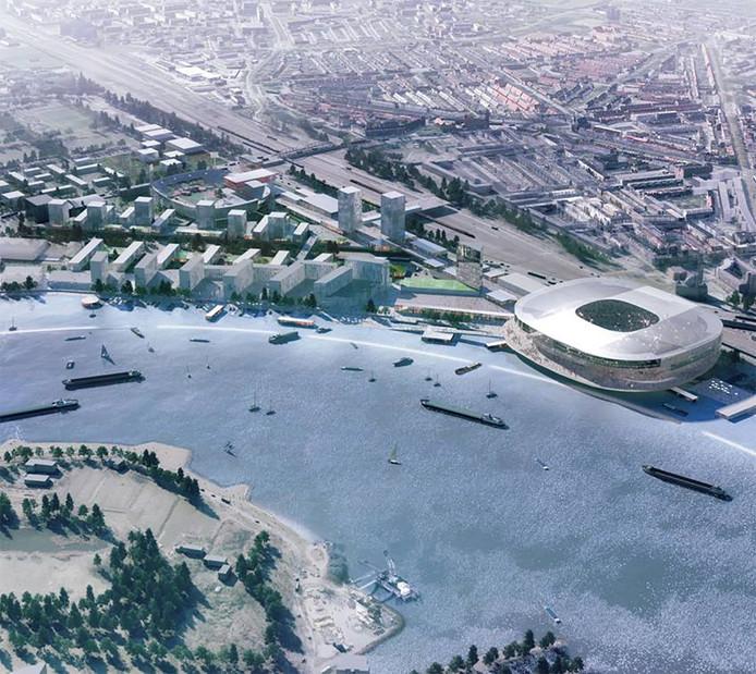 Een impressie van het nieuwe stadion aan de Maas en de verbouwde Kuip aan het einde van The Strip.