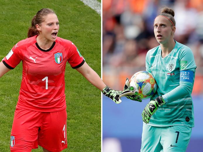 De keepers van Italië en Oranje: Laura Giuliani (links) en Sari van Veenendaal