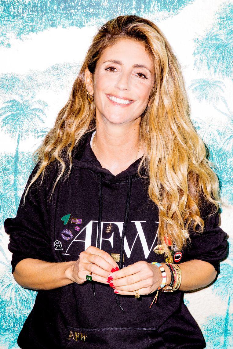 Danie Bles in haar kantoor in Amsterdam Zuid ter voorbereiding van de Amsterdam Fashion Week. Beeld Marie Wanders
