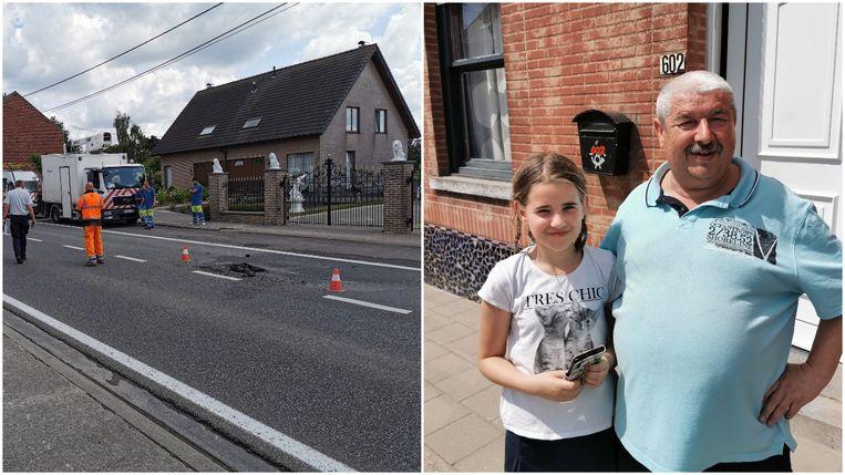 Daniel Basteleus (rechts) werd net als zijn buren opgeschrikt door een luide knal toen het asfalt losbarstte na een waterlek op de Ninoofsesteenweg in Halle.