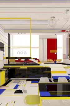 Dit excentrieke interieur is volledig gebaseerd op de kunst van Piet Mondriaan