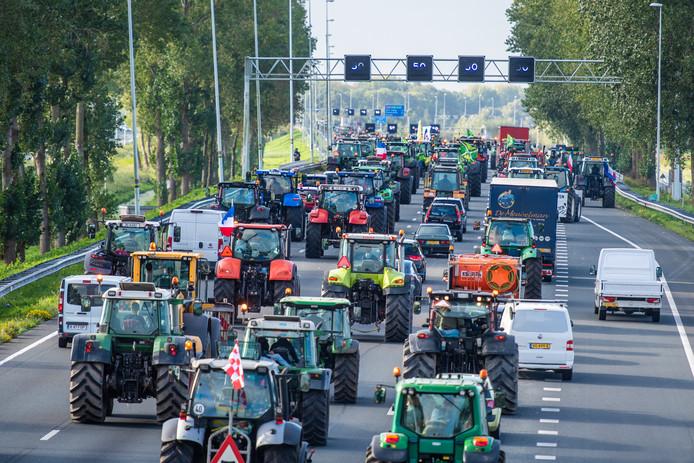 Boerenprotest op de A12 bij Bodegraven