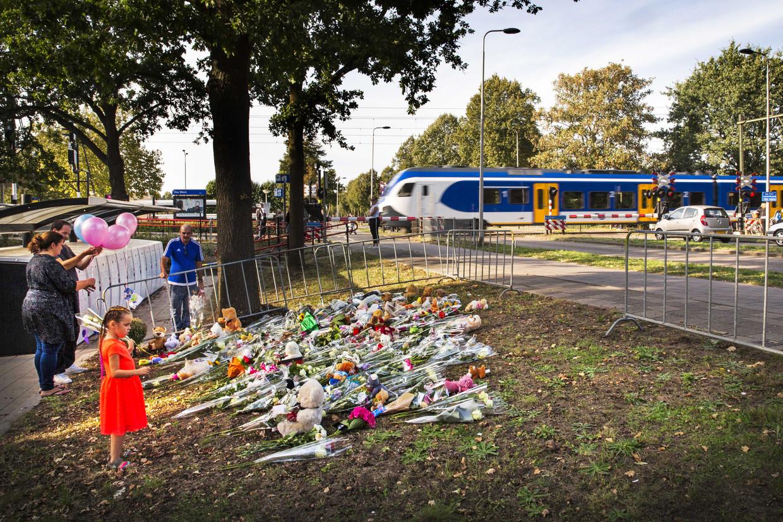 Op de plek van het dramatische ongeval in Oss werden bloemen neergelegd.  Beeld ANP