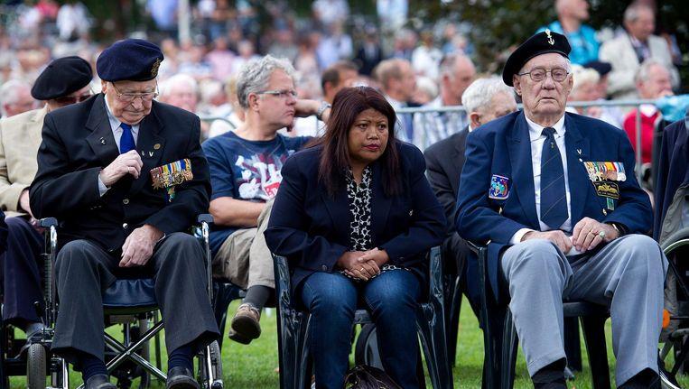 Veteranen bij het Nationaal Indië-monument in Roermond. Beeld anp