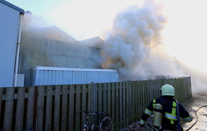 De rook kwam aan alle kanten het kassencomplex uit.