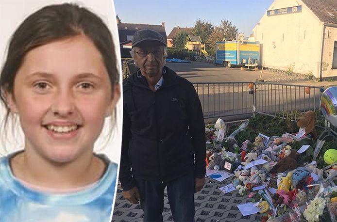 Kato's pépé Luc, kapot van verdriet, was maandagochtend ook in tranen op de plaats van het ongeval van zijn kleindochter.