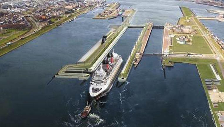 De sluis bij IJmuiden, die in 2019 opgeleverd moet worden Beeld Fotostudio Honing Beverwijk
