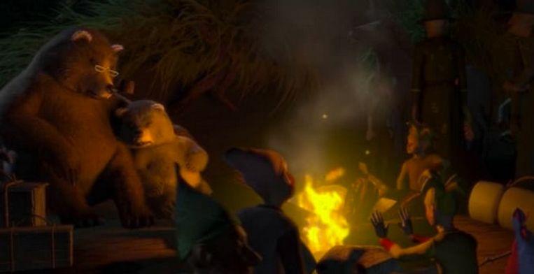 Papa beer en babybeer zijn te zien in het kamp.
