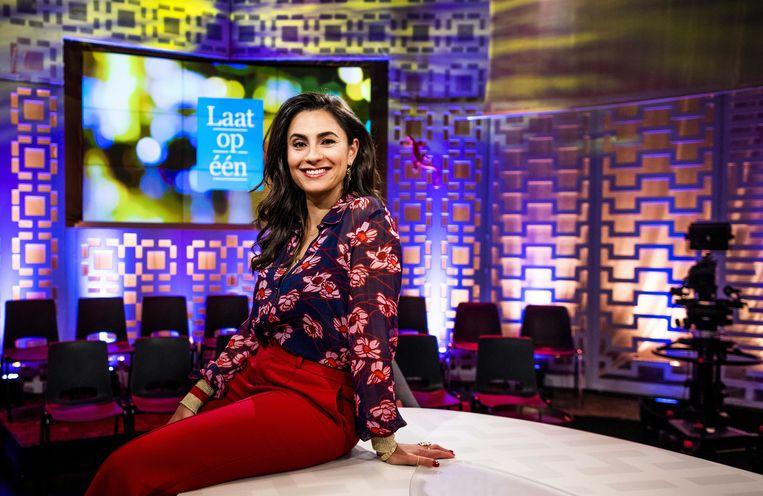Nadia Moussaid voor aanvang van talkshow Laat op een.  Beeld ANP Kippa