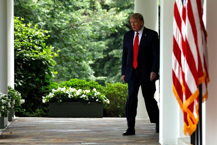 Donald Trump bij het Witte Huis.
