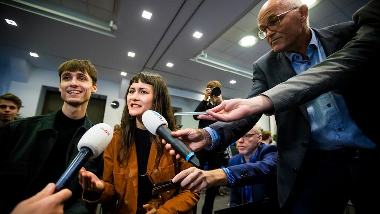Initiatiefnemers Luca van der Kamp en Nina Boelsums Beeld anp
