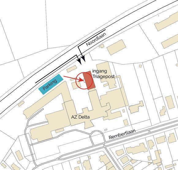 Op het plannetje vind je de exacte locatie van de triagepost.