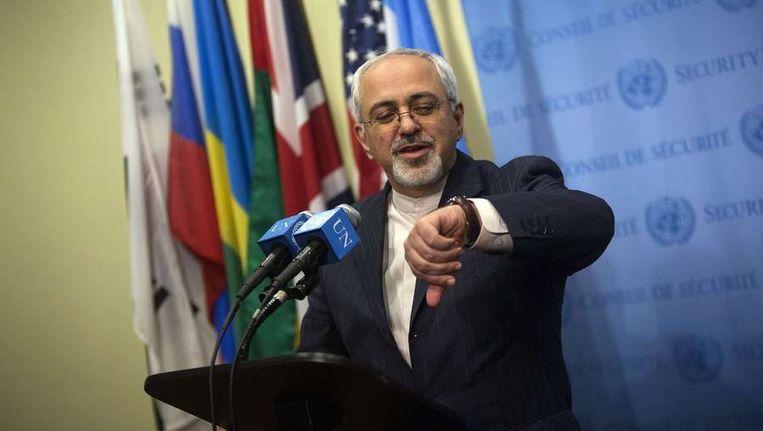 De Iraanse minister Zarif van Buitenlandse Zaken vorige week tijdens een persconferentie bij de VN in New York. Beeld reuters
