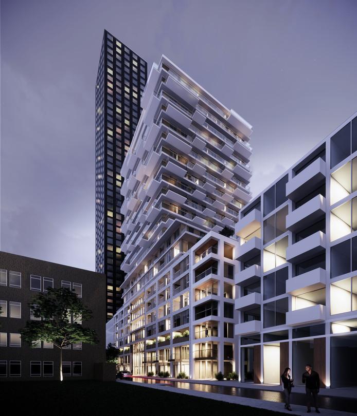 Tussen de nog te bouwen 150 meter hoge wolkenkrabbers aan de Baan in Rotterdam komt nóg een woontoren. Eentje van 70 meter hoog, met zo'n 190 woningen.