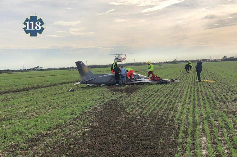 Het neergestorte vliegtuigje nabij Caorle.